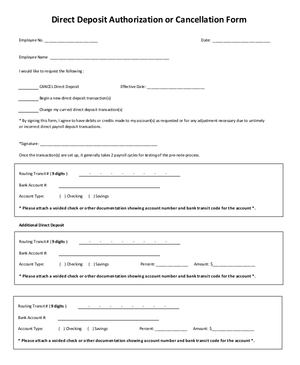 direct deposit authorization or revocation form
