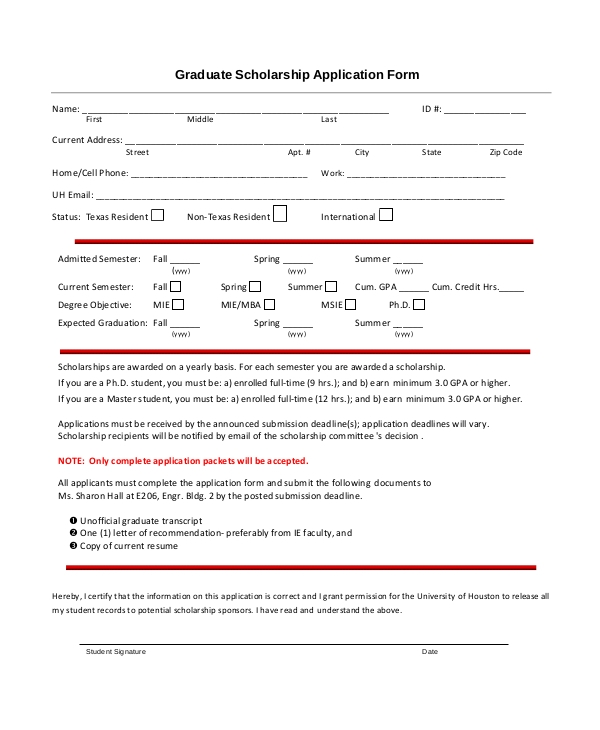 editable graduate scholarship form