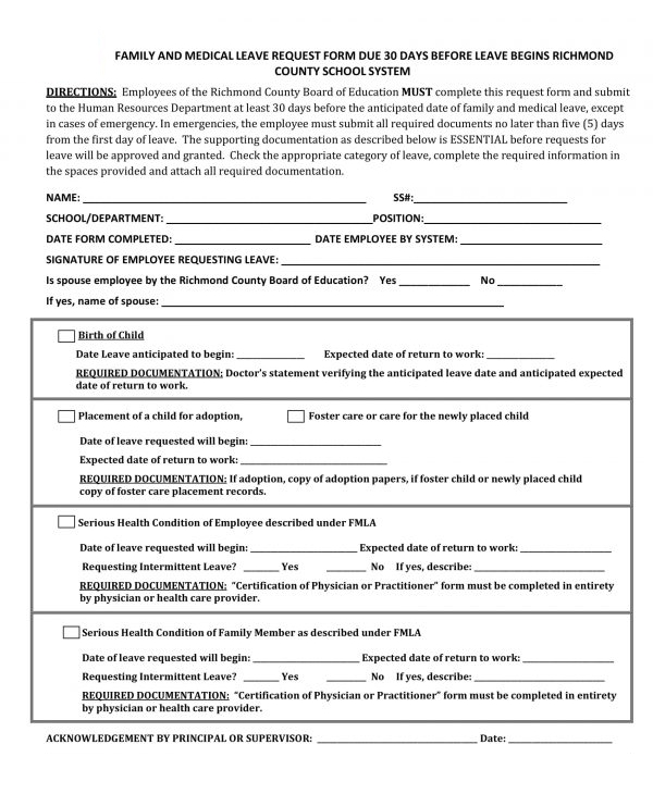 employee family and medical leave request form