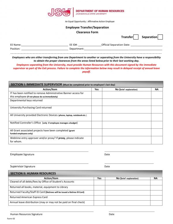 employee transfer separation clearance form 1 e1526359837737