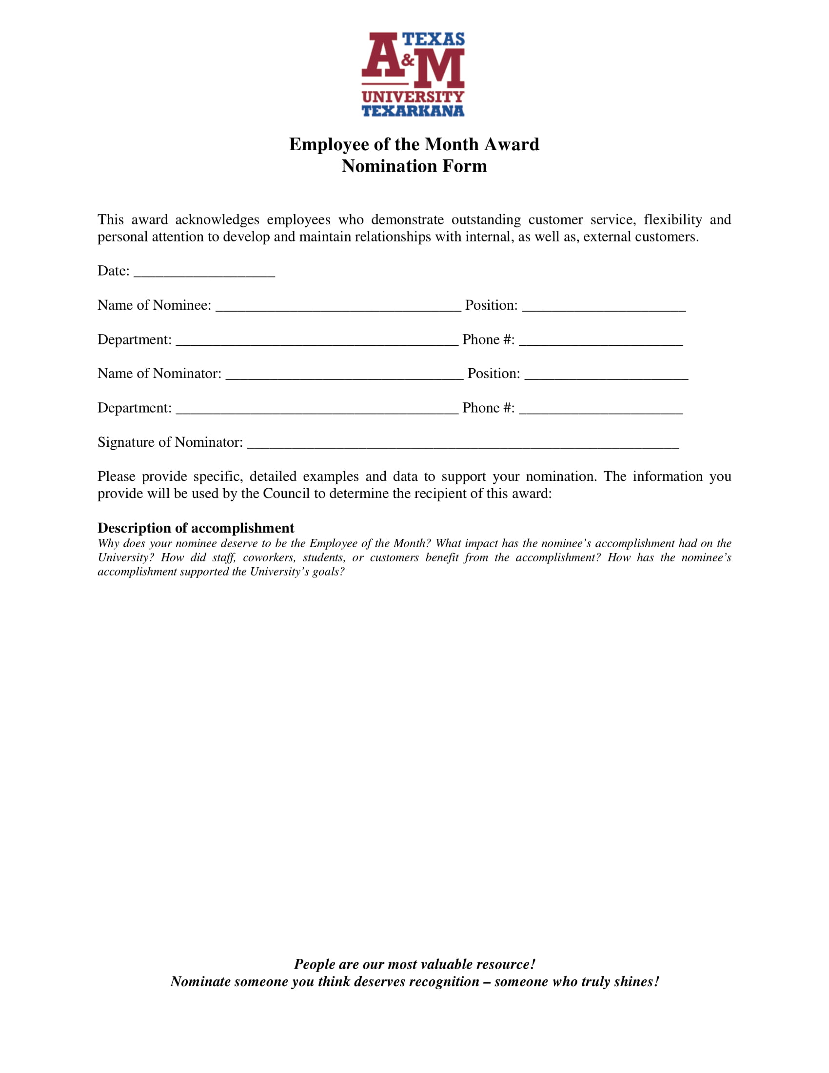 FREE 3 Employee Of The Month Voting Forms In PDF