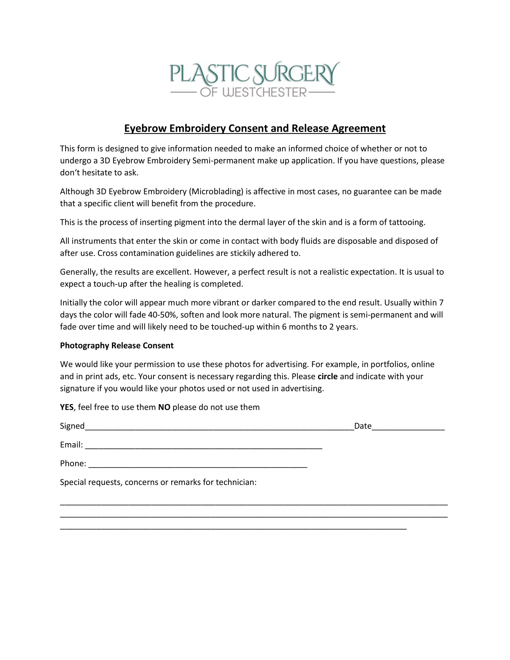 eyebrow embroidery tattoo consent release agreement form 1