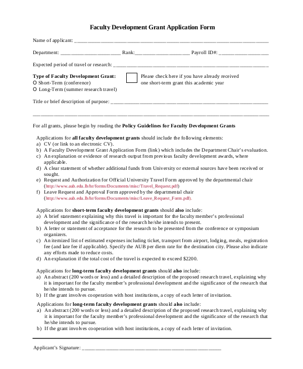 faculty development grant application form