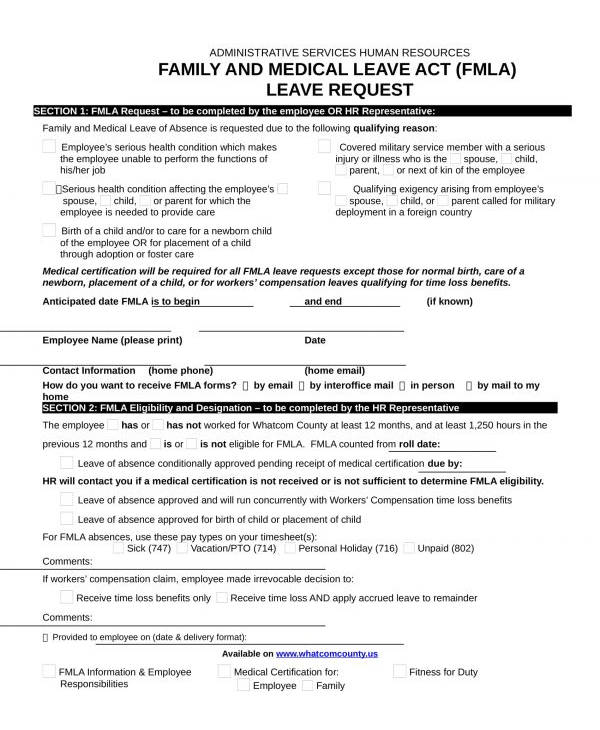 family and leave request form in doc