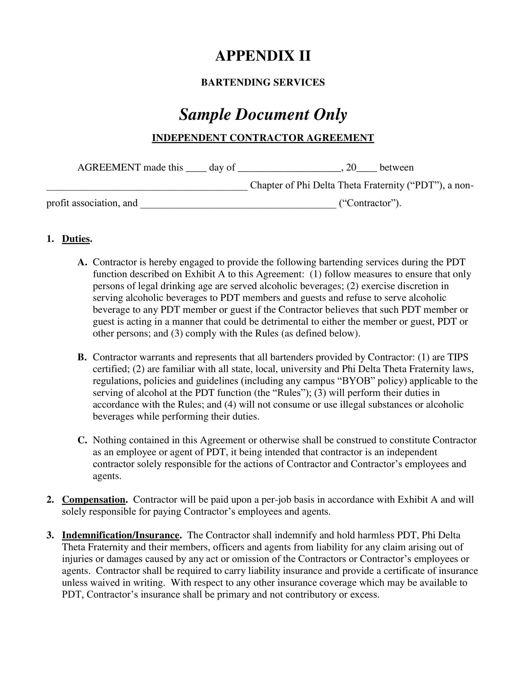 formal bartender contract form 1