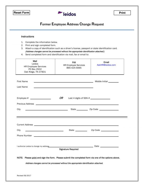 former employee address change request form 1 e1526533634615