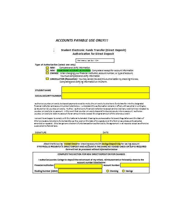 general direct deposit revocation form