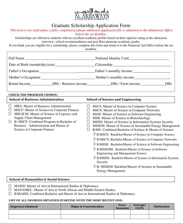 graduate scholarship application form
