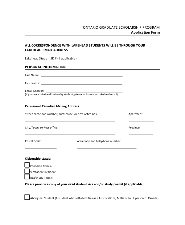 graduate scholarship program form