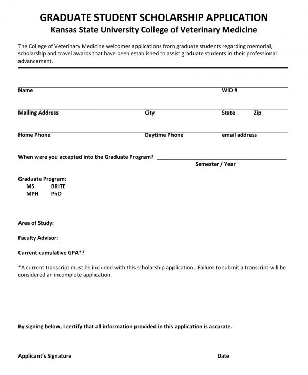 graduate student scholarship application form