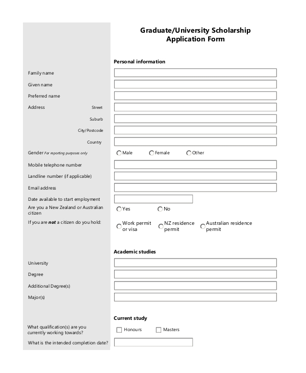 graduate university scholarship application form