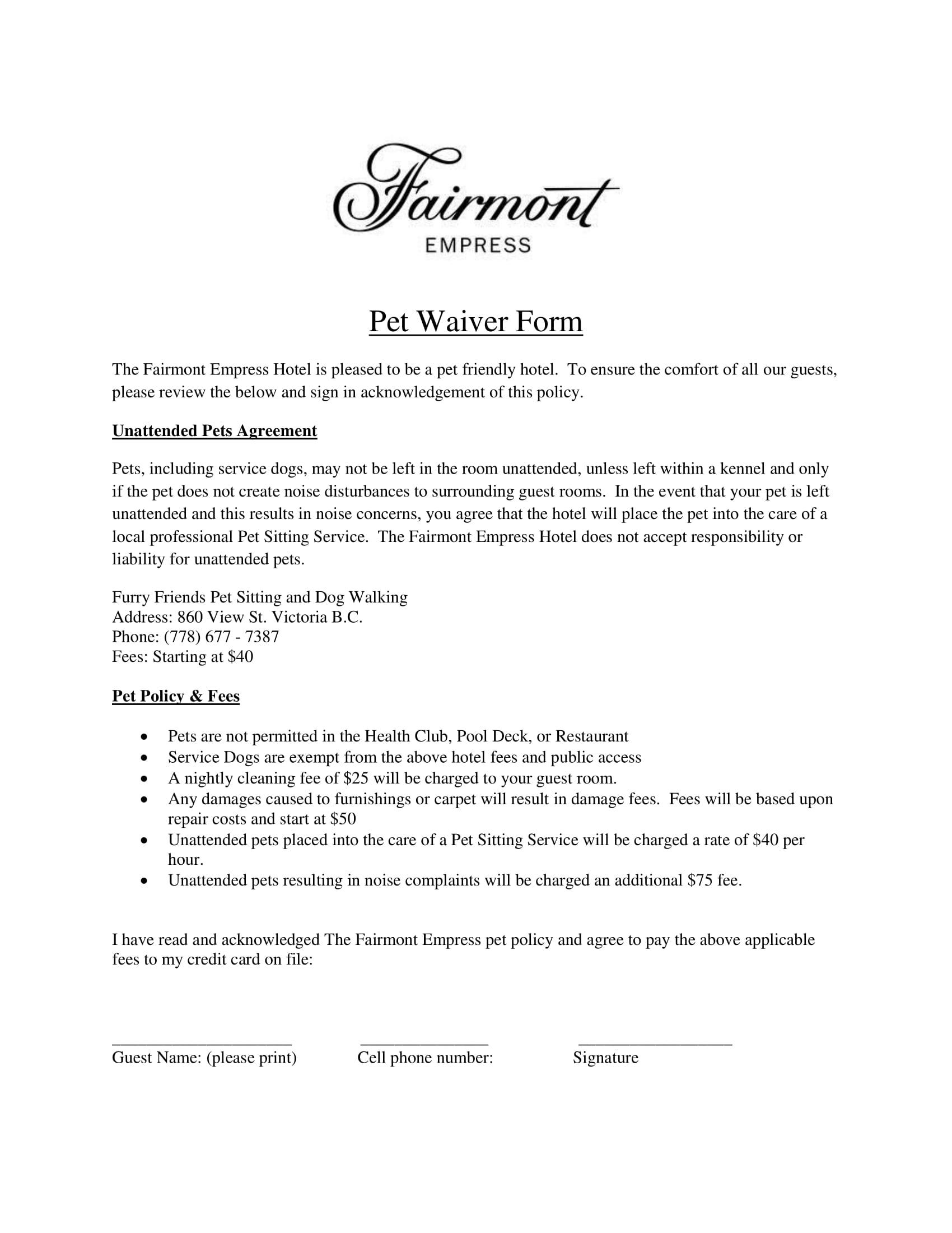 hotel restaurant pet waiver form 1