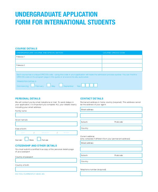 international student undergraduate application form