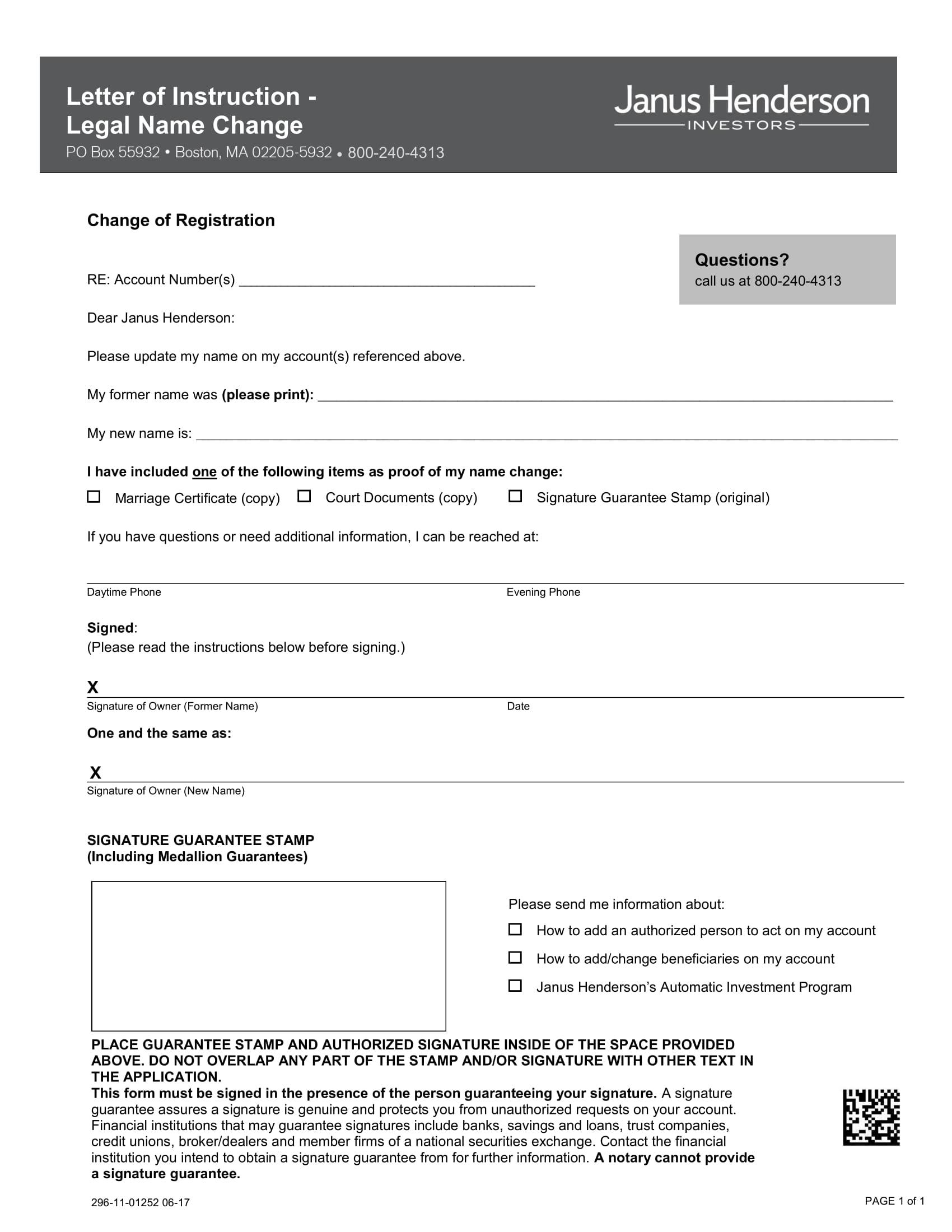 investor legal name change form 1