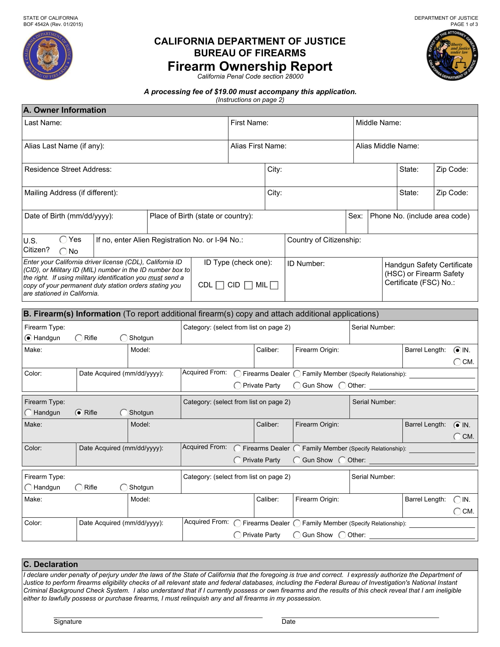 legal firearm ownership report form 1