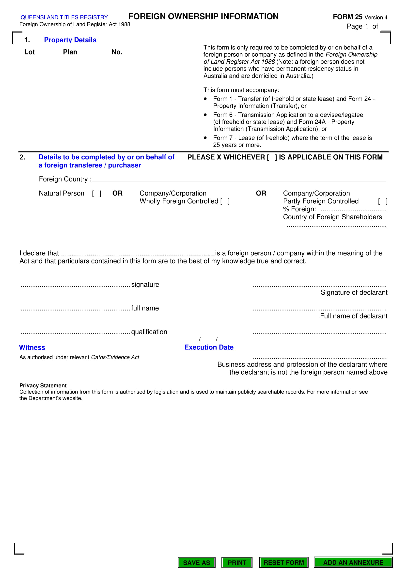 legal foreign ownership information form 1