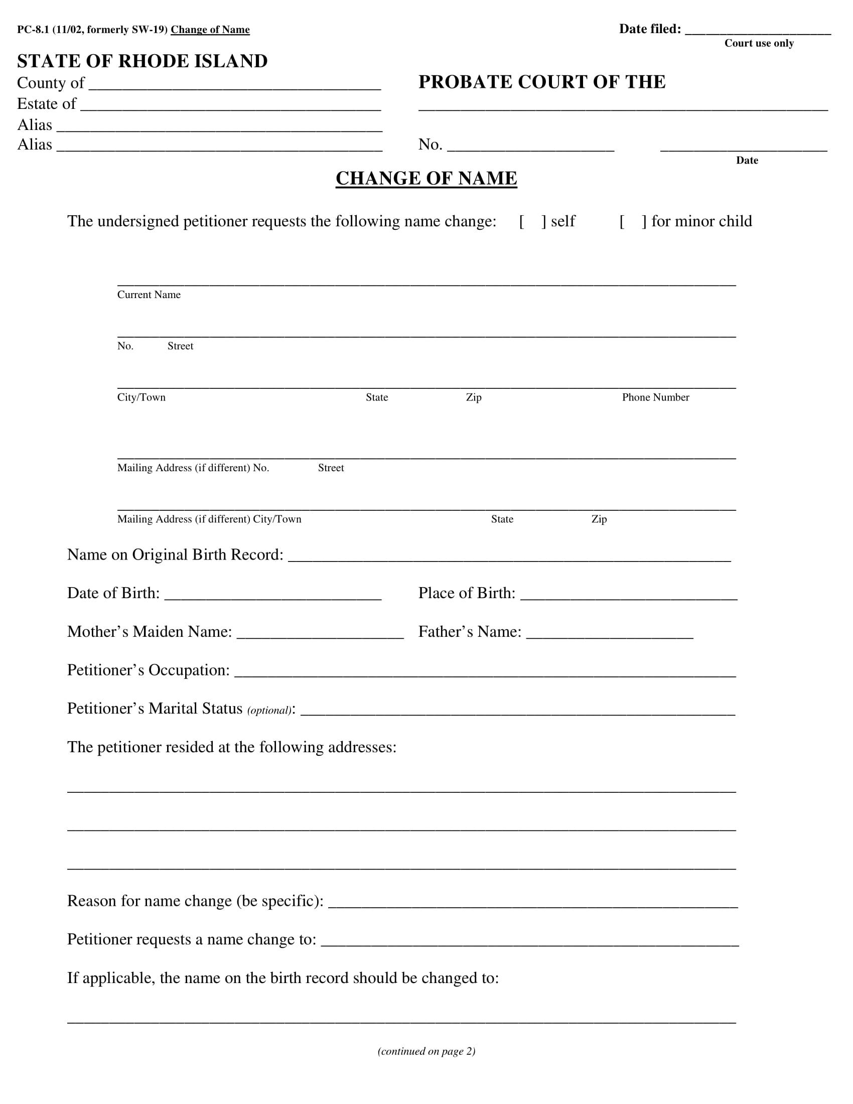legal name change form sample 1