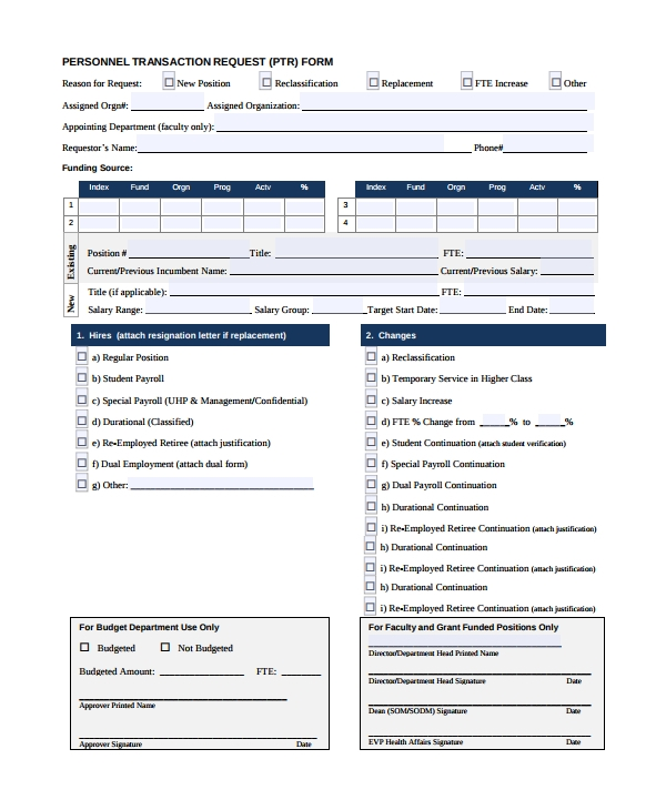 personnel transaction request form