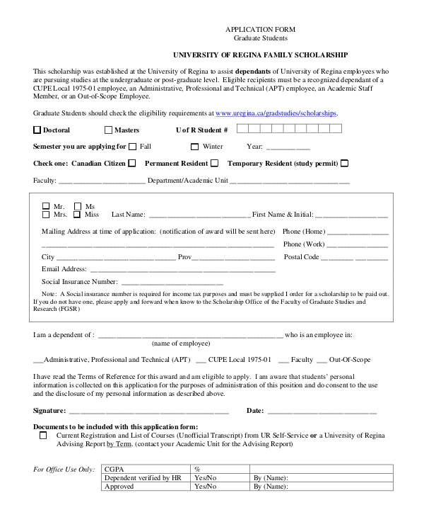 printable graduate scholarship form