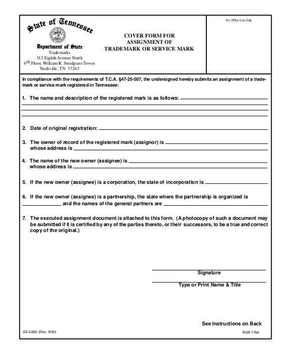 printable trademark assignment form