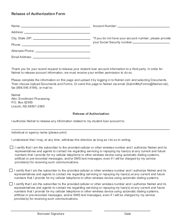 release of authorization form