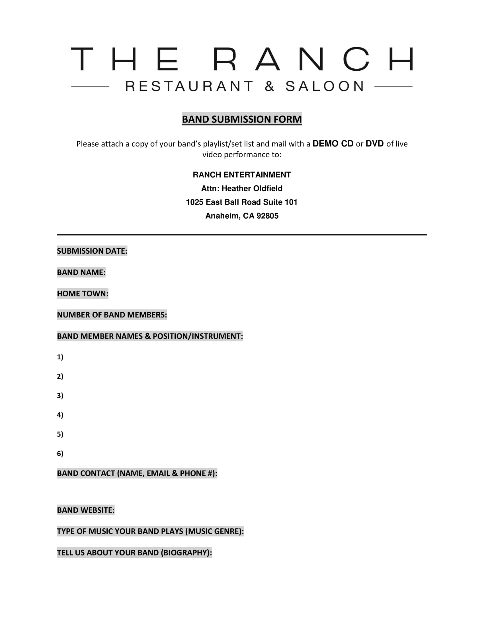restaurant band inquiry submission form 1