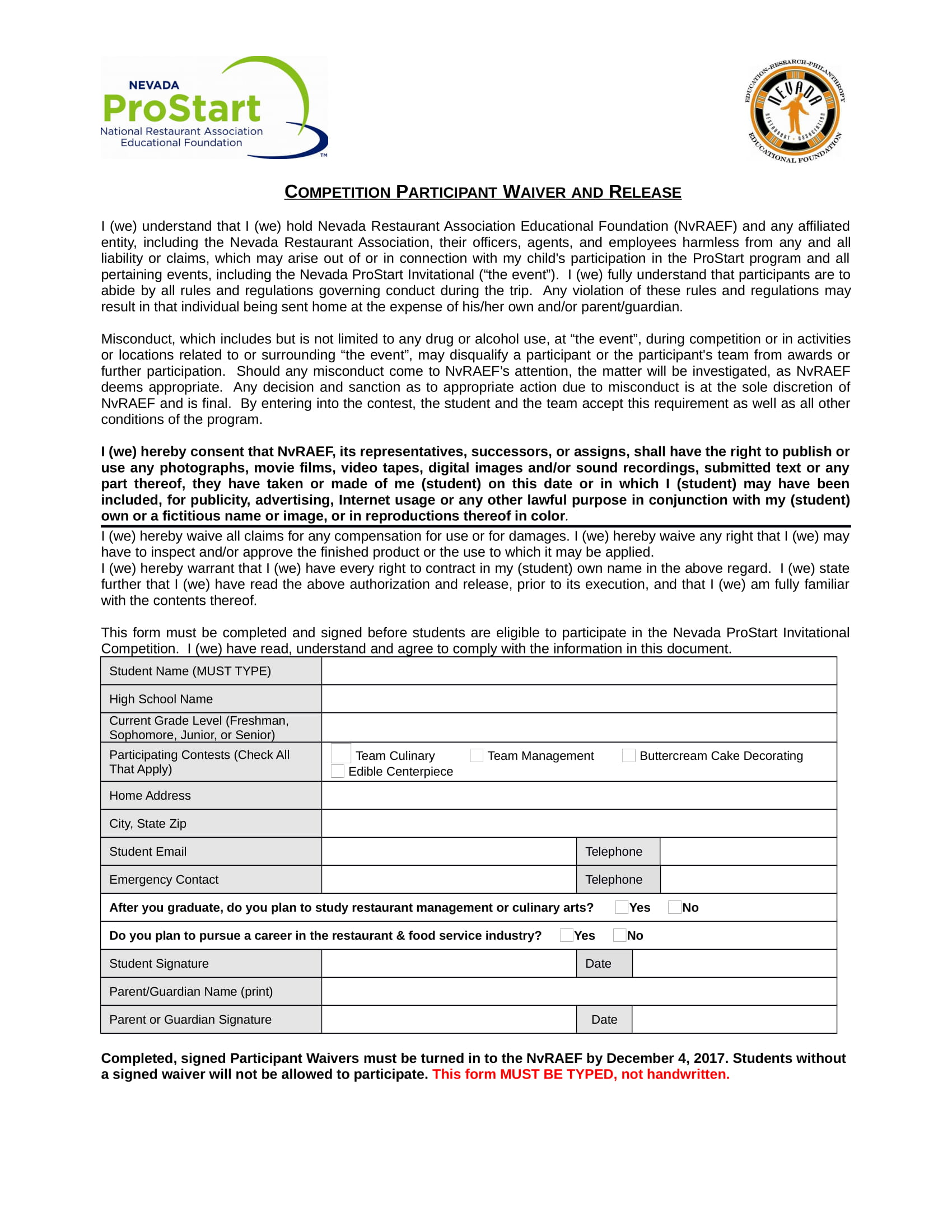 FREE 3+ Restaurant Waiver Forms in PDF | DOC