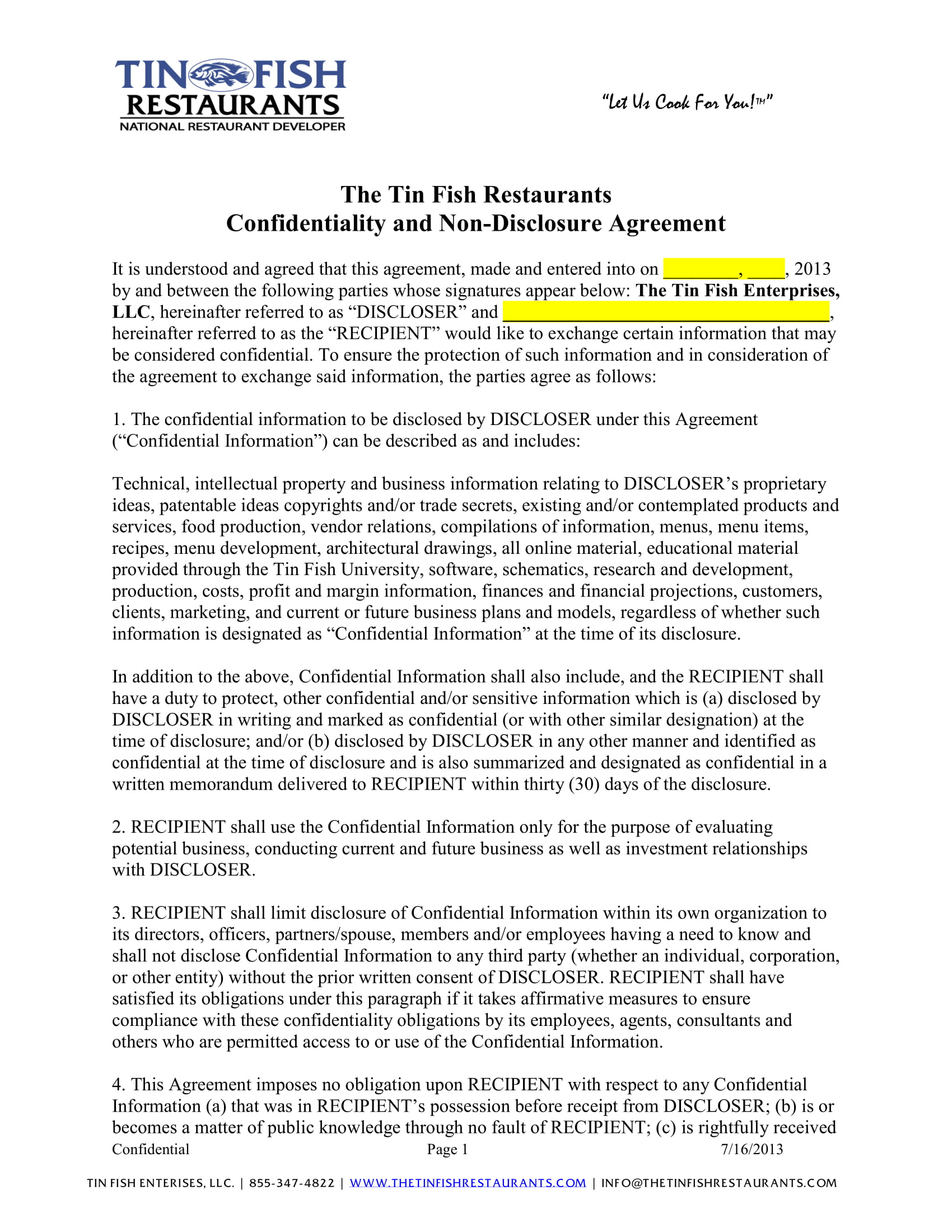 4 Restaurant Employment Forms Pdf