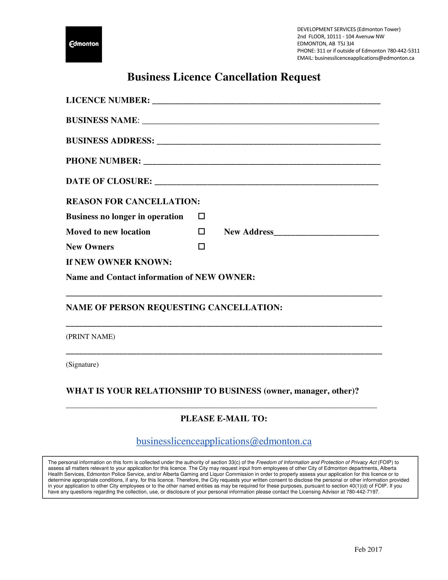 restaurant license cancellation termination form sample 1