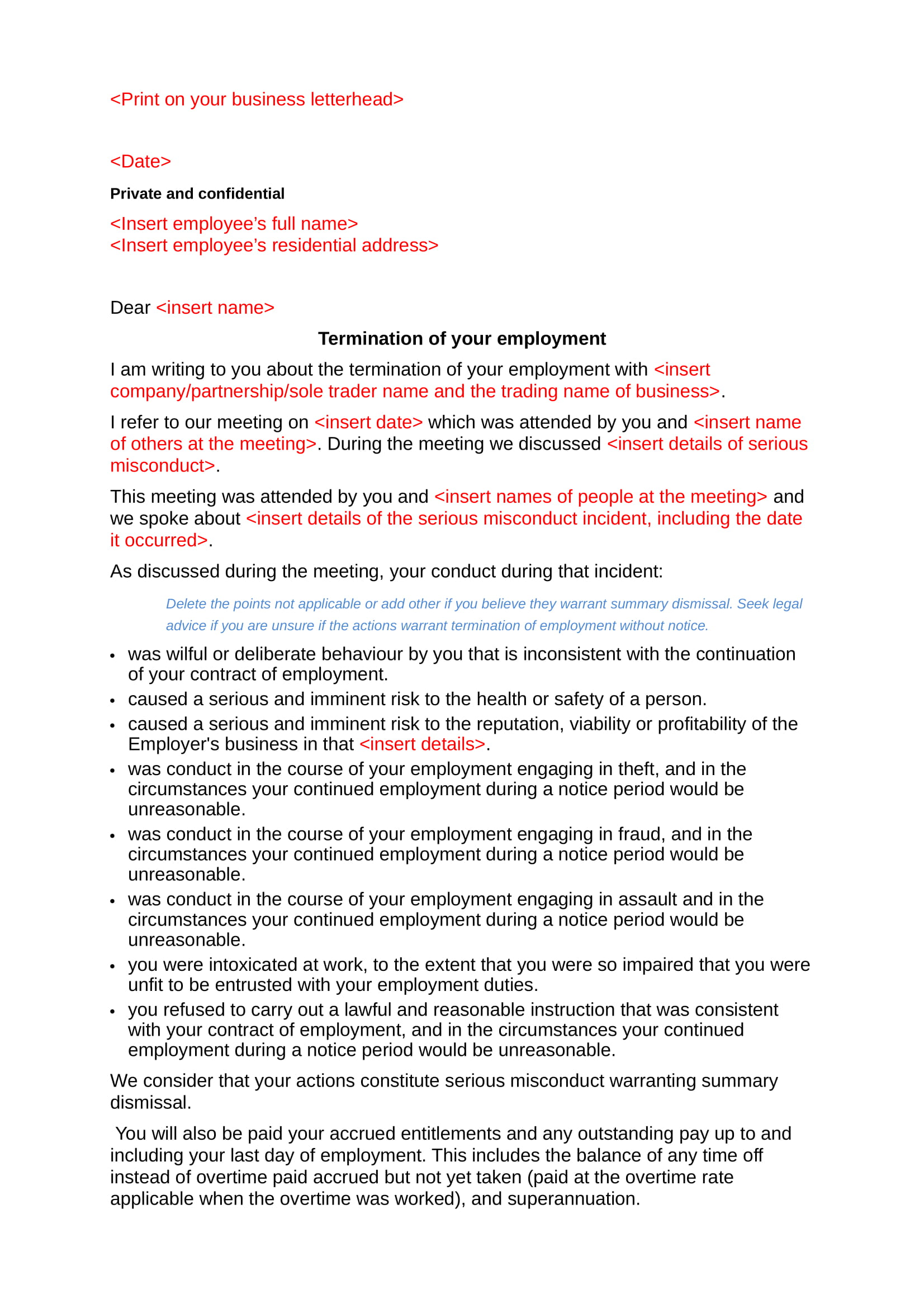 restaurant termination of employment letter format 3