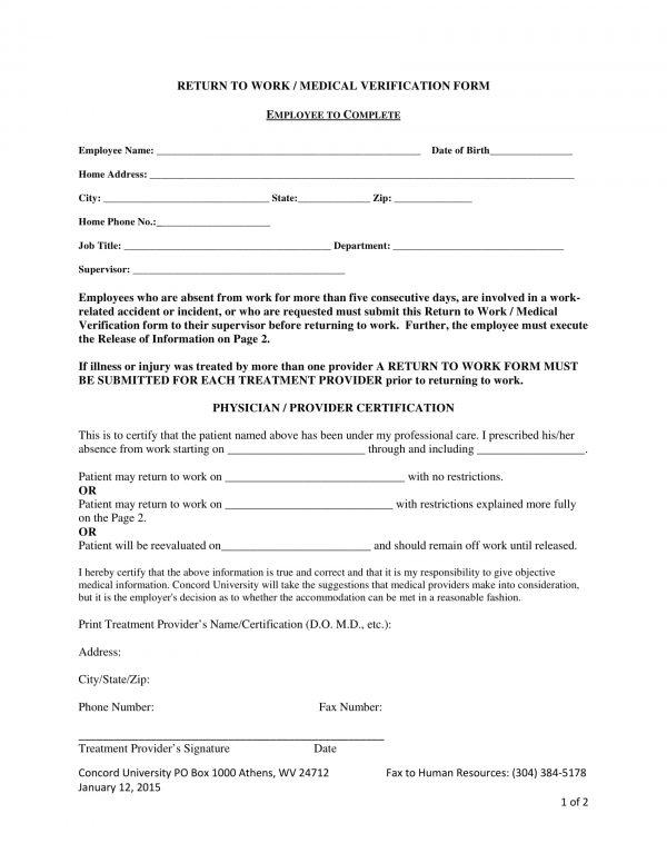 return to work medical verification form 1 e1525847345325