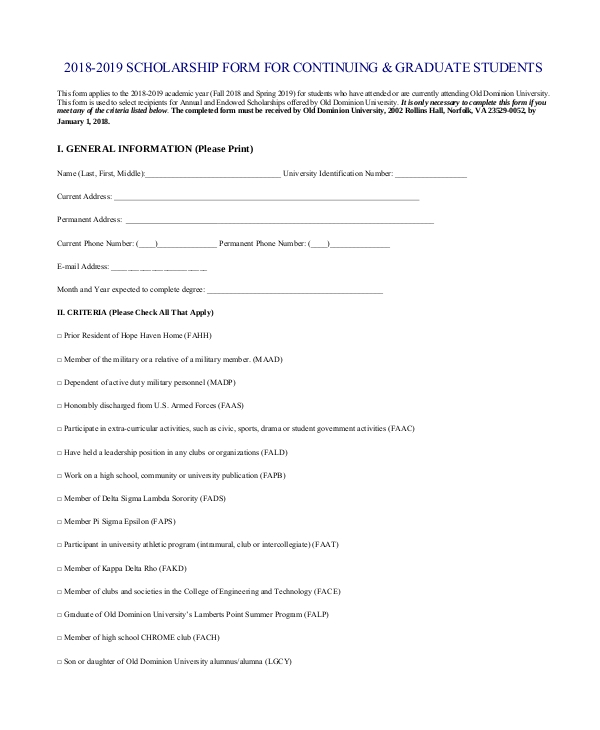 scholarship form for graduate students