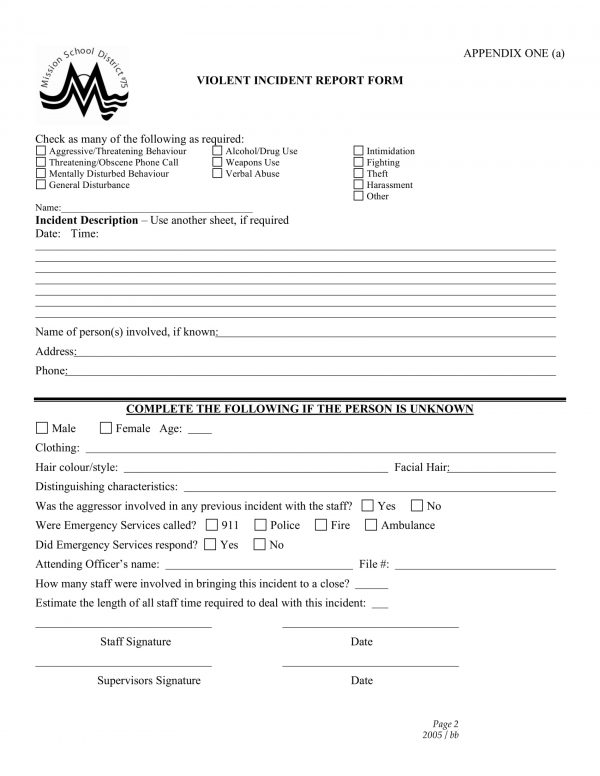school employee violent incident report form 2 e1526261055326