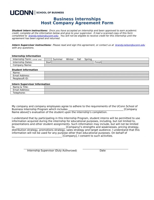 school of business internship host company agreement form 1 e1527042469111