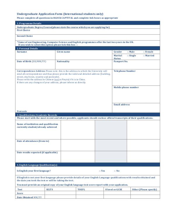 simple undergraduate application form