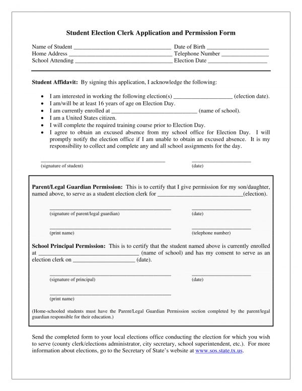 student election clerk application permission form 1 e1527059604362