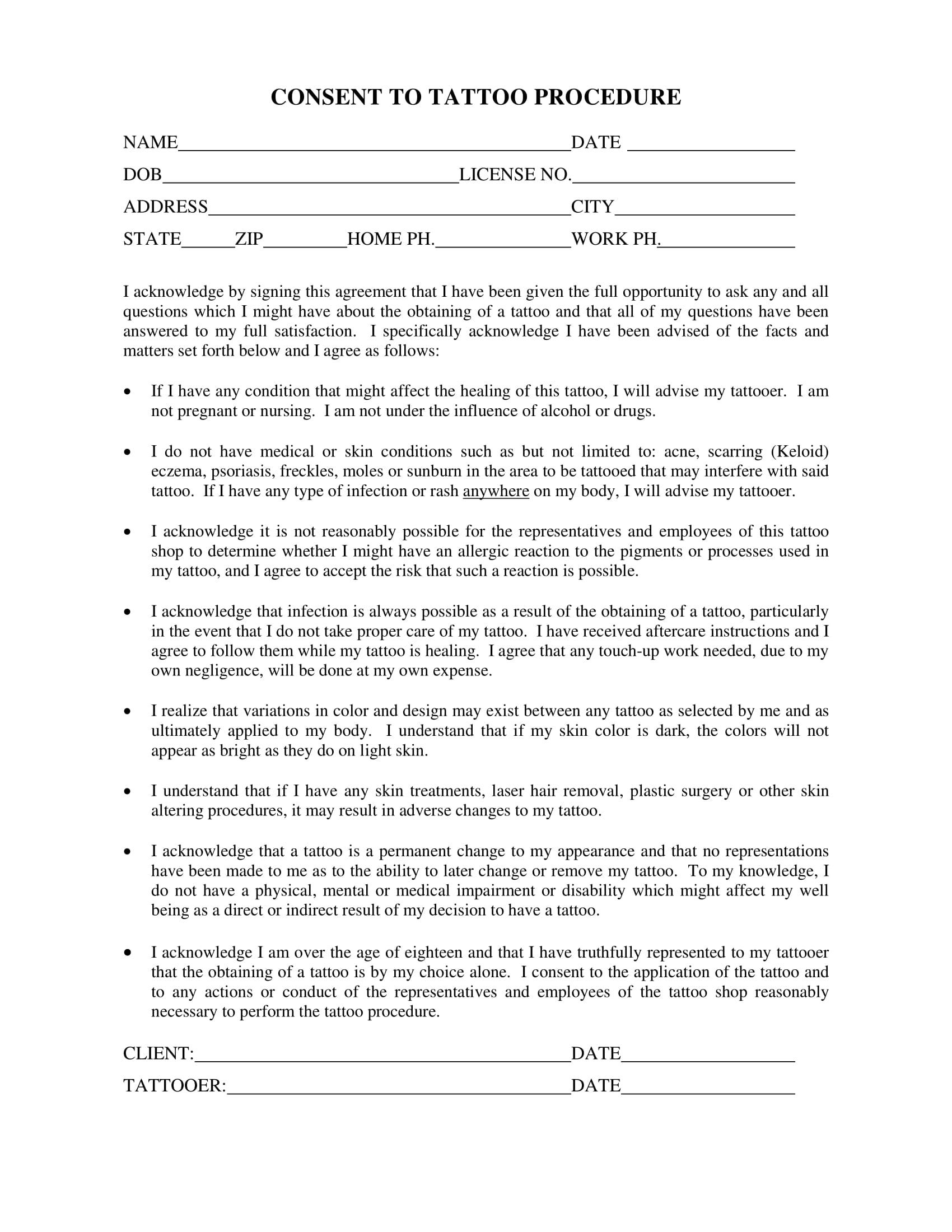 tattoo procedure consent form 1