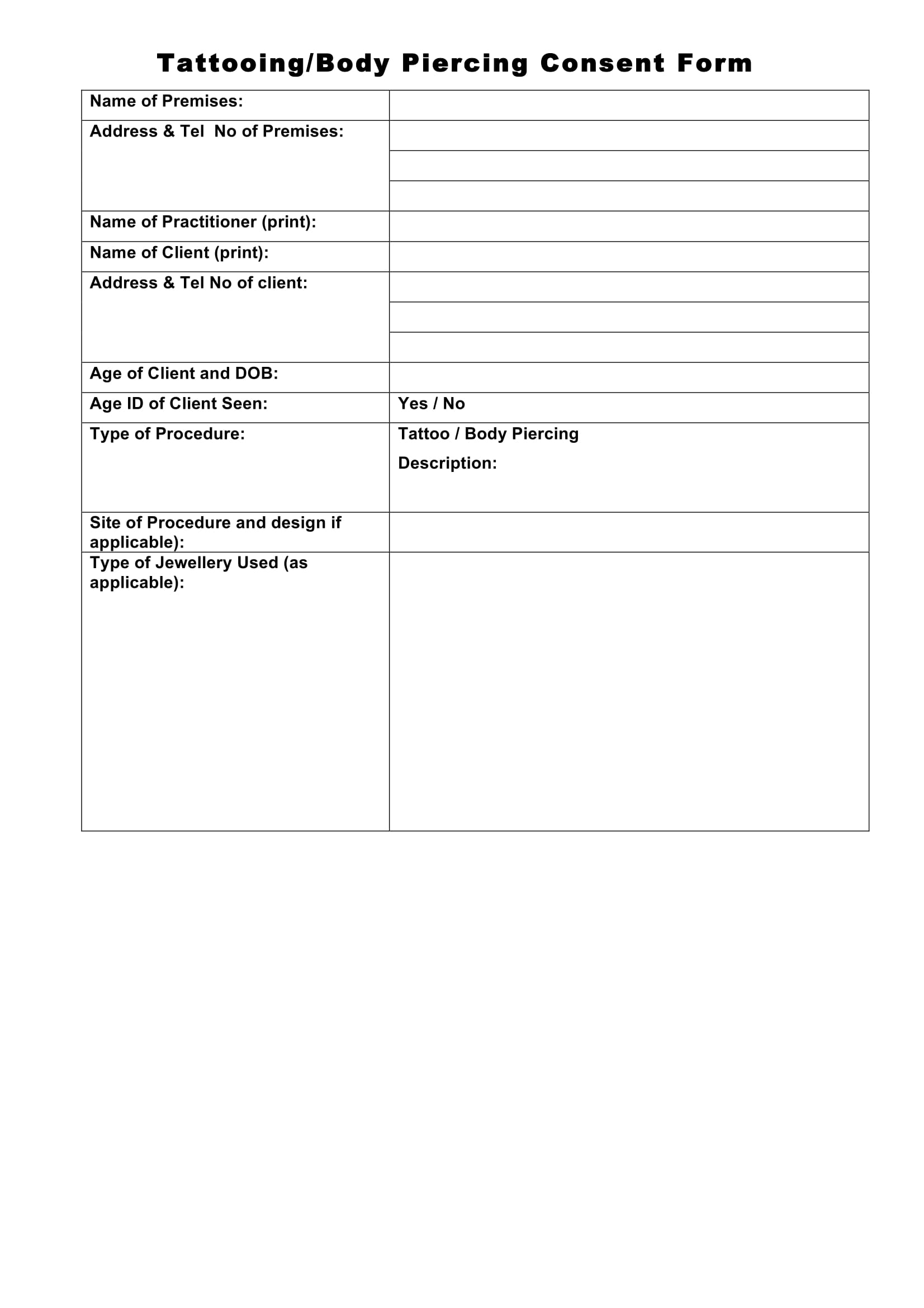 tattooing consent form 1