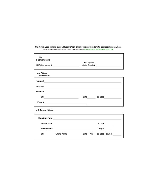tenant change of address form