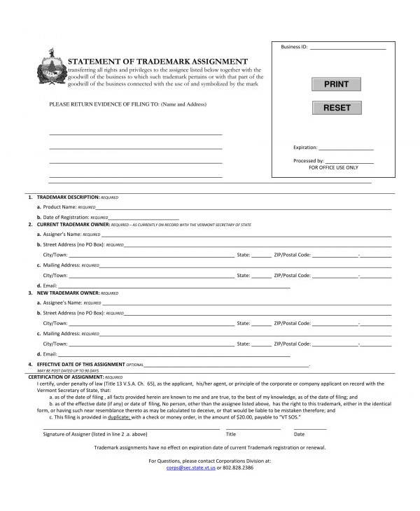 trademark assignment statement form