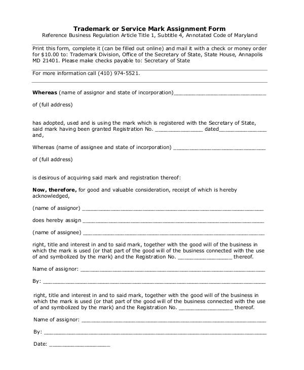 trademark or service mark assignment form
