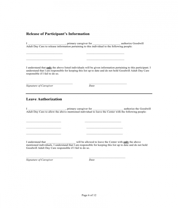adult daycare leave authorization form