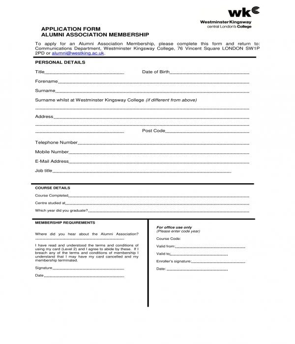 alumni association membership application form