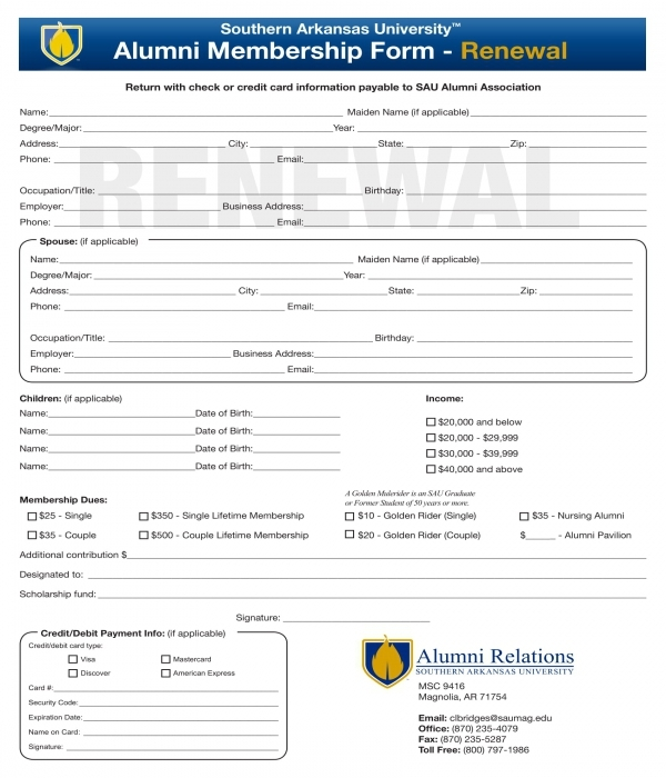 alumni renewal membership form