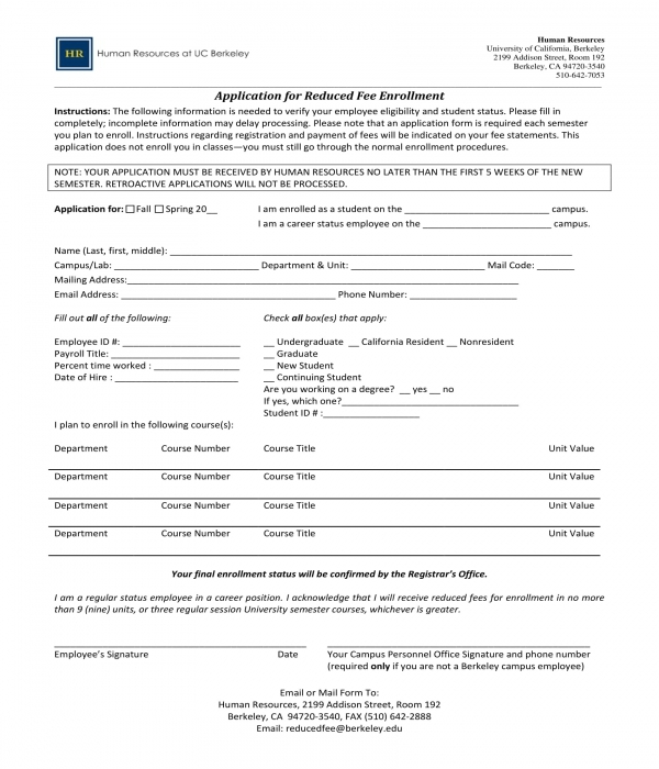 application for reduced fee enrollment form