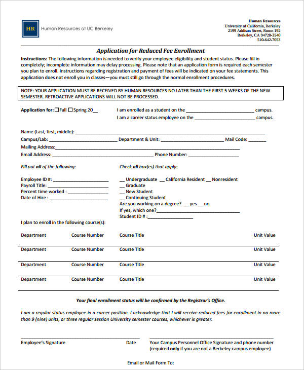 application for reduced fee enrollment