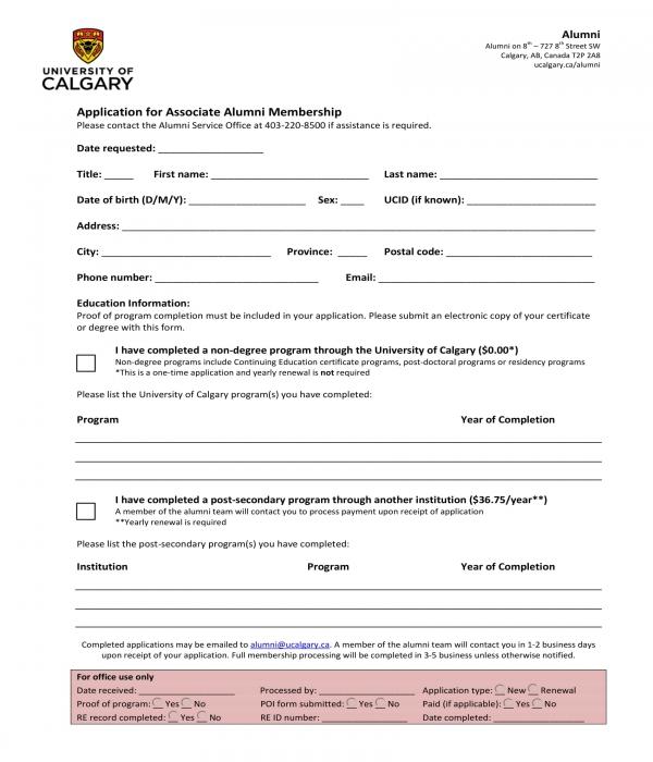 associate alumni membership form