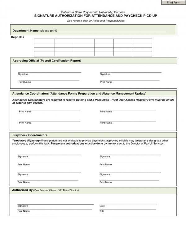 attendance and paycheck pick up signature authorization form