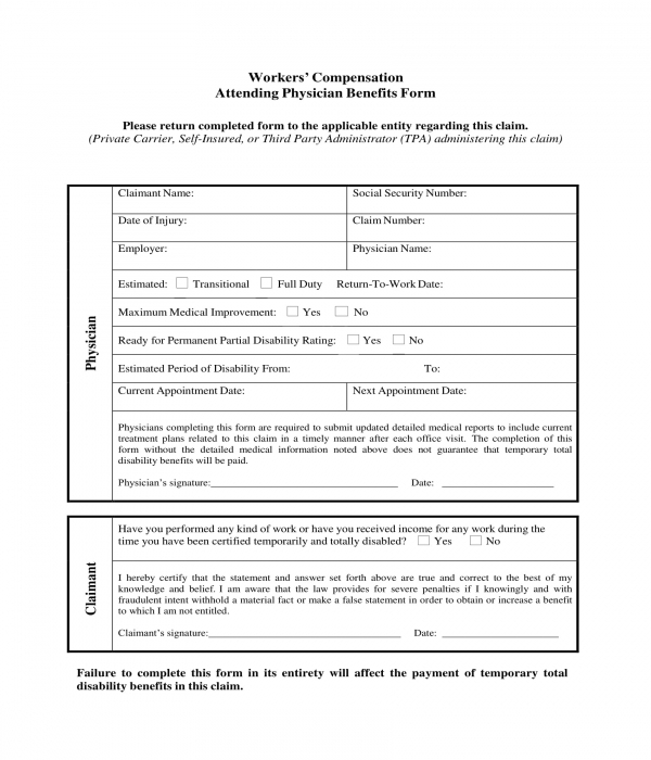 attending physician benefits form
