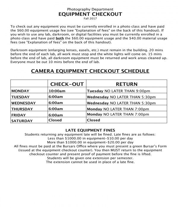 camera equipment checkout schedule form